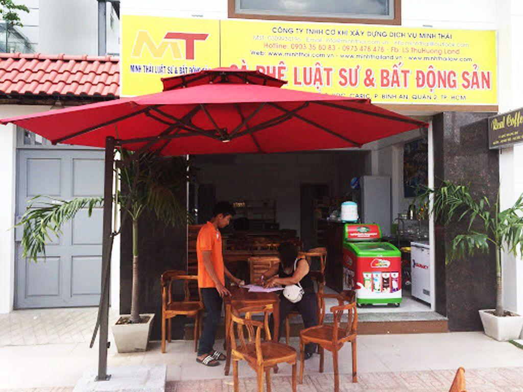 Dù Che Nắng Quán Cafe Lệch Tâm Tròn 3.8m